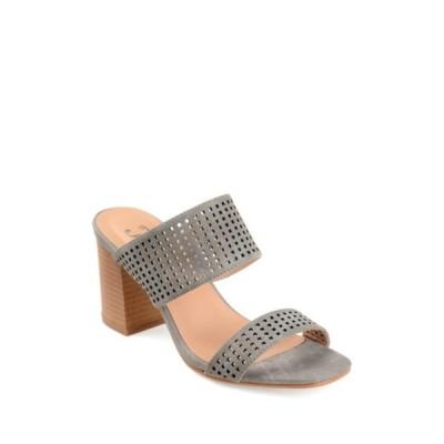ジャーニーコレクション レディース サンダル シューズ Sonya Perforated Block Heel Sandal GREY