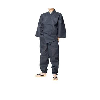 作務衣 夏用 メンズ しじら織り作務衣 日本製 (3L, 黒)