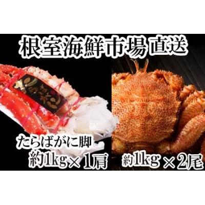 根室海鮮市場<直送>ボイル毛がに約1kg×2尾、ボイルたらばがに脚約1kg×1肩 D-28007