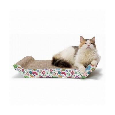 猫壱 バリバリ ベッド L花柄  猫用 爪磨き 爪とぎ