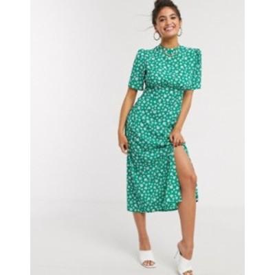 エイソス レディース ワンピース トップス ASOS DESIGN midi tea dress with buttons and split detail in green floral print Green flo