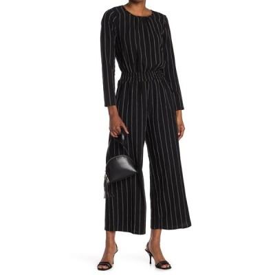 エヌ・エス・アール レディース ワンピース トップス Stripe Long Sleeve Jumpsuit BLACK
