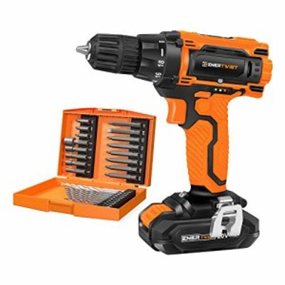 EnerTwist 20V Max Cordless Drill 38 Inch Power Drill Set with Lithium Ion Battery and Charger Variable Speed 19 Positions