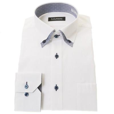 U.P renoma 形態安定加工 スリムフィット 長袖ワイシャツ メンズ マイターカラー ボタンダウン