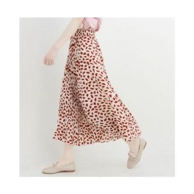 ハート柄 レオパード柄のロング丈スカート ゆったり カジュアル 春夏 お出かけや女子会に SK-0146
