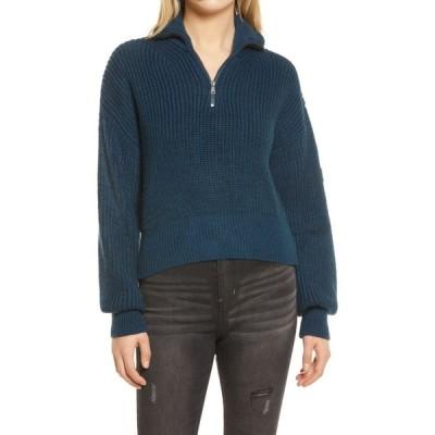 アーバンアウトフィッターズ BDG URBAN OUTFITTERS レディース ニット・セーター トップス Half Zip Fisherman Sweater Blue