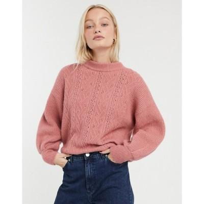 モンキ レディース ニット・セーター アウター Monki pointelle knit sweater in pink