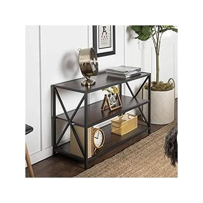 Walker Edison 2 Tier Open Shelf Industrial Wood Metal Bookcase Tall Bookshe並行輸入
