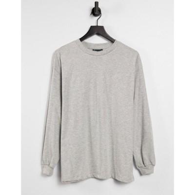 エイソス ASOS DESIGN レディース 長袖Tシャツ トップス oversized long sleeve t-shirt with cuff detail in grey marl グレー