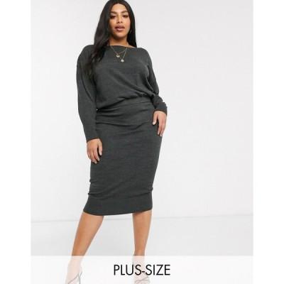 ミーヒャラウンジ ドレス 大きいサイズ レディース Micha Lounge Curve overlay knitted dress with rib hem エイソス ASOS グレー 灰色