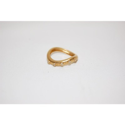 アガット agete K18 イエローゴールド ダイヤモンド ウエーブ リング 指輪 サイズ約12号 レディスリング 【中古】【当日発送】