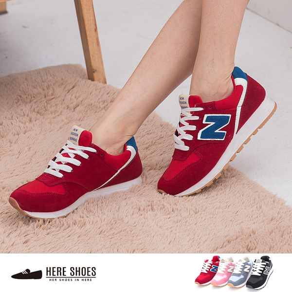 [Here Shoes]3色 熱銷N字Z字鞋 慢跑 休閒鞋 運動風潮 陽光運動風正妹必備─KRB11