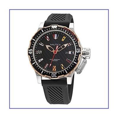 Nautica Men's Stainless Steel Quartz Silicone Strap, Black, 22 Casual Watch (Model: NAPGLF003)