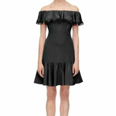 Rebecca Taylor レベッカテイラー ファッション ドレス Rebecca Taylor NEW Black Womens 4 Off Shoulder Ruffle Sheath Dress