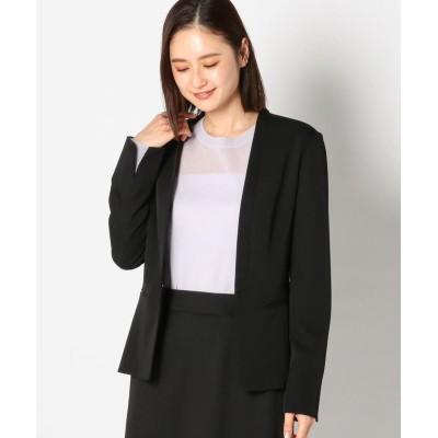 【ミューズ リファインド クローズ】 ウォッシャブルノーカラージャケット レディース クロ S MEW'S REFINED CLOTHES