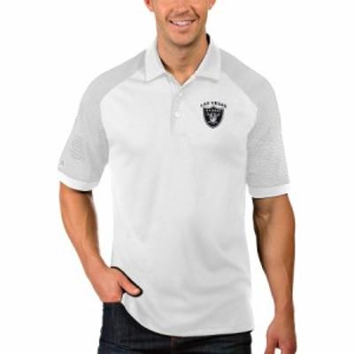 """メンズ ポロシャツ """"Las Vegas Raiders"""" Antigua Engage Polo - White"""