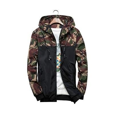 ウィンドブレーカー ジャケット メンズ マウンテンパーカー おしゃれ 迷彩柄 パーカー フード付き 服 ジップアップ(アーミーグリーン 2XL)