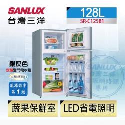SANLUX台灣三洋 一級能效 128公升 雙門定頻冰箱 SR-C125B1-庫