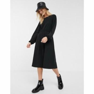 モンキー Monki レディース ワンピース Tシャツワンピース ワンピース・ドレス oversized round neck t-shirt dress in black ブラック