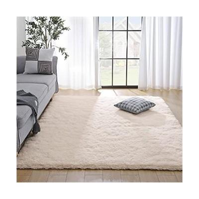 送料無料 Kelarea Super Soft Shaggy Rug Fluffy Bedroom Carpets, 5x8 Feet Cream White, Modern Indoor Fuzzy Plush Area Rugs for Living Ro