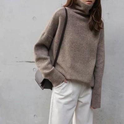 ニット レディース セーター タートルニット プルオーバー オーバーシルエット ゆったり 韓国ファッション 大人