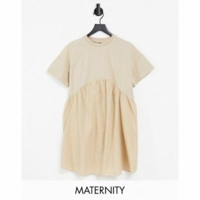 インフルエンス Influence Maternity レディース ワンピース ワンピース・ドレス smock dress in beige ベージュ