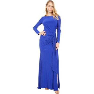 ヴィンス カムート Vince Camuto レディース パーティードレス ワンピース・ドレス Long Sleeve Gown with Drape Front Cobalt