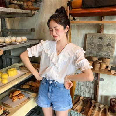 春の新製品発売 韓国 ファッション スリム スリムフィット sweet系 ブラウス シャツ 夏 トップス
