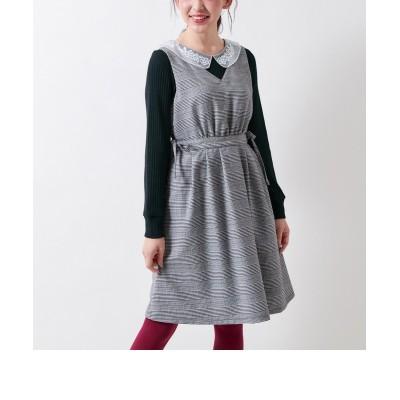 【大きいサイズ】 リボンデザインチェック柄ジャンパースカート(オリーブ。デ。オリーブ) ワンピース, plus size dress