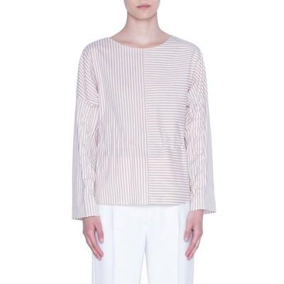 アクリス プント レディース シャツ トップス Cotton Long Sleeve Blouse SAND-CREAM-STRIPE