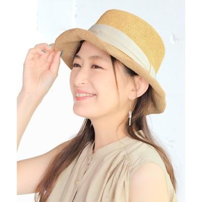 帽子 ハット 細編みリボン巻きカンカン帽