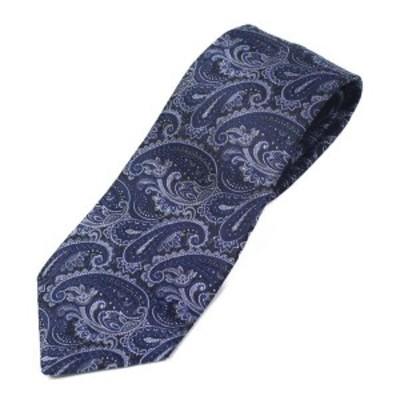 富士桜工房 高密度 ペイズリー 紺 日本製 シルクジャカード 和風ネクタイ