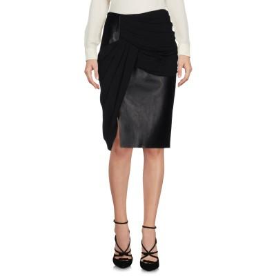 アレキサンダーワン ALEXANDER WANG ひざ丈スカート ブラック 6 レーヨン 96% / ポリウレタン 4% / 革 / ポリエステル