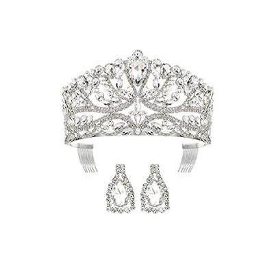 ティアラ・ヘアアクセサリー DcZeRong Princess Queen Tiara Crowns Rhinestone Crystal Adult Women Birthda 並行輸入品