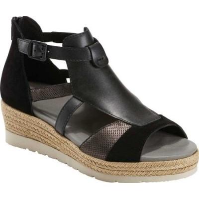 カルソーアースシューズ Earth レディース サンダル・ミュール ウェッジソール シューズ・靴 Modena Jasmine Wedge Sandal Black Suede/Leather