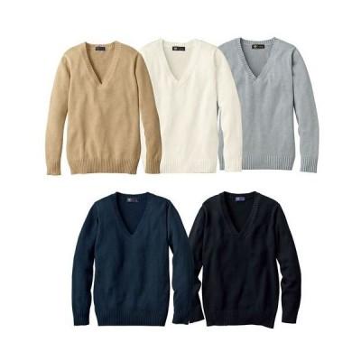 年間使いやすい綿100% Vネックニットセーター(スクール・制服) S M L LL 2035-183501
