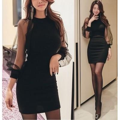シースルー オルチャンファッション ワンピース オルチャン パフスリーブ フェミニン 韓国ファッション レディース 3色