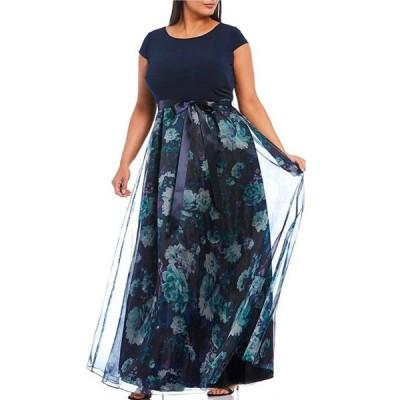 イグナイト レディース ワンピース トップス Plus Size Cap Sleeve Floral Organza Ballgown