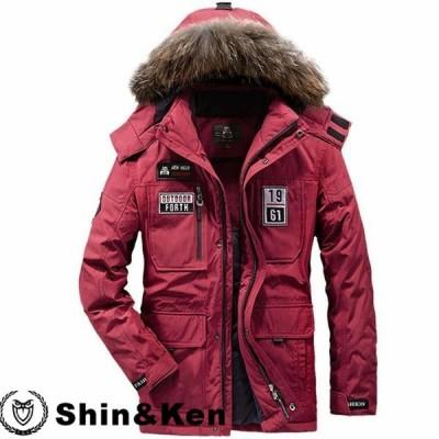 ダウンジャケット メンズ ミリタリー風 ラクーンファ フード取り外せる ワッペン付き 保温 防風 オシャレ 冬服