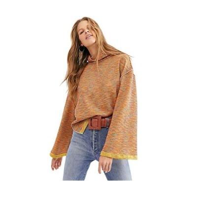 We The Free Womens Sunny Days Knit Oversized Turtleneck Sweater Orange XS並行