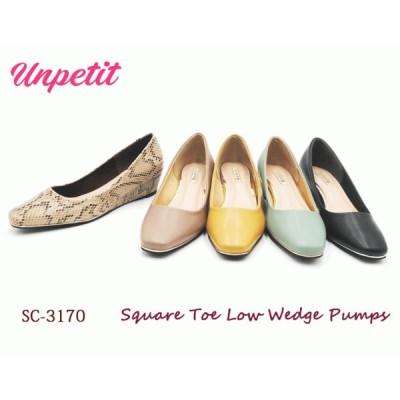 【新商品】Unpetit 人気 定番 スクエアトゥ ローウェッジ パンプス ゴールド パイピング 4cm SC3170