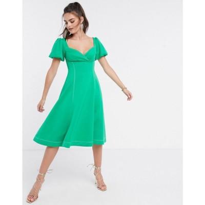 エイソス ASOS DESIGN レディース ワンピース ミドル丈 ワンピース・ドレス puff sleeve prom midi dress with contrast topstitch in green グリーン