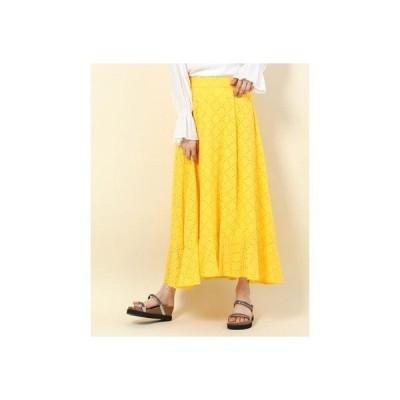 ドゥアルシーヴ DOUX ARCHIVES 裾切替レーススカート (イエロー)