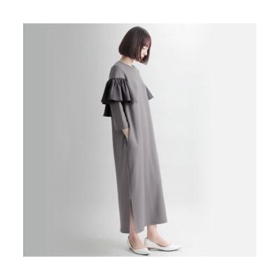 MARTHA(マーサ) 異素材フリルポンチワンピース (ワンピース)Dress