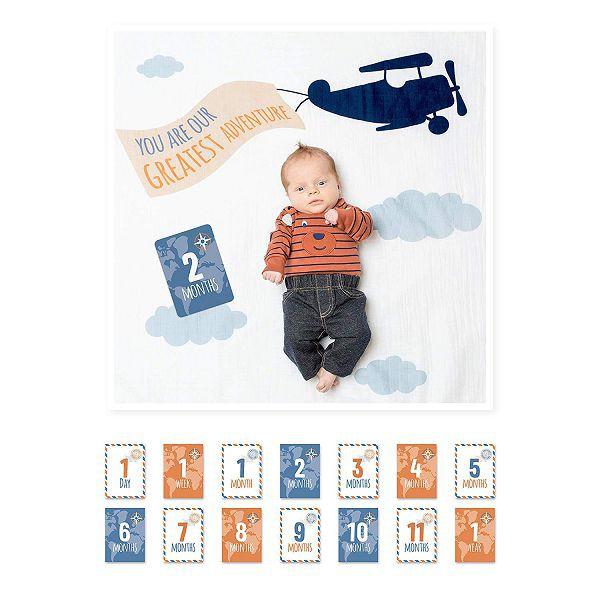 加拿大lulujo 寶寶成長包巾卡片組-飛機【麗兒采家】