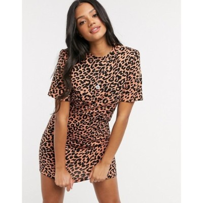 エイソス レディース ワンピース トップス ASOS DESIGN padded shoulder short sleeve mini t-shirt dress in leopard print