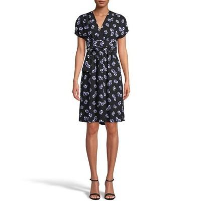 アンクライン レディース ワンピース トップス Floral Print Crepe De Chine Faux Wrap Tie Waist Dress