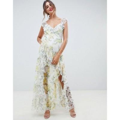 エイソス レディース ワンピース トップス ASOS DESIGN ruffle maxi dress in floral dobby mesh with lace
