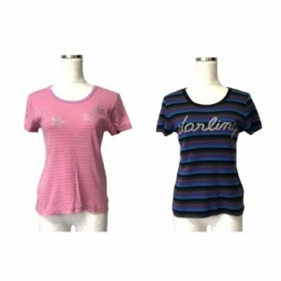 新品同様 SONIA BY SONIA RYKIEL ソニアリキエル ボーダーラインストーンTシャツ 2枚セット (半袖 マルチカラー) 120824 【中古】