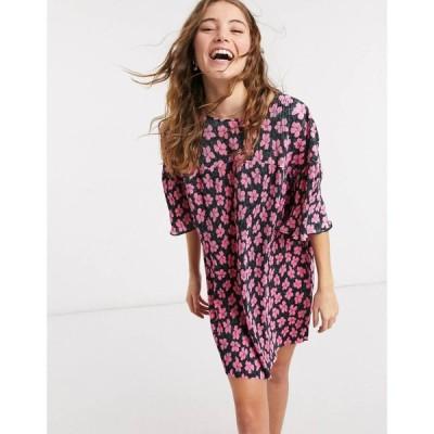 エイソス ASOS DESIGN レディース ワンピース ワンピース・ドレス mini plisse crew neck dress in pink and black floral